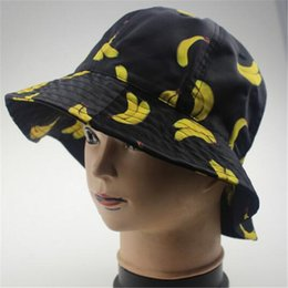 Wholesale Fruits Passion - Fruit Print Fisherman Bucket Hat Outdoor Sun Cap Church Hats Fashion Accessories Unisex Lovely Cute Funky Passion