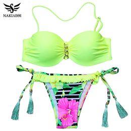 Wholesale Floral Bandeau Bikini Top - NAKIAEOI 2016 New Sexy Brazilian Bikini Women Swimsuit Bandeau Floral Print Swimwear Push Up Bikini Set Top Beach Bathing Suit