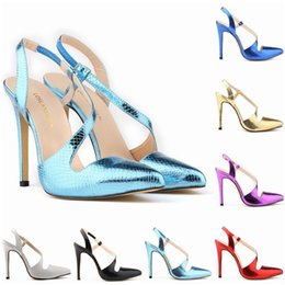 Wholesale Champagne Wedding Wedge Shoes - Womens Stilettos High Heels Crocodile Grain Stilettos Pointed Toe Ankle Strap Wedges Platform Sexy Shoes US Size 4-11 D0093