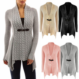 Wholesale Pink Ruffle Sweater - Ladies Cardigan Tops Shirt Sweater Outwear Outerwear Womens Long Sleeve Casual Solid Color