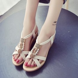 Wholesale Wedges Korean Style - Women new fashion wedge heel sandals Korean style Slope sandals with white color good choose for girls