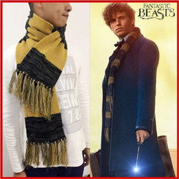 Wholesale Stylish Costumes Men - Fantastic Beasts And Where To Find Them Winter Scarf Stylish Warm Blanket Scarf Men And Women Cosplay Shawl Yellow&Black Scarf