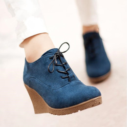 Wholesale High Heeled Platform Boots - Wholesale-2016 New Wedges Boots Fashion Flock Women's High-heeled Platform Ankle Boots Lace Up High Heels Spring Autumn Shoes For Women