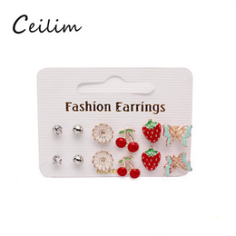 Wholesale Cheap Cute Gift Sets - 2017 new cute flower stud earrings set fashion earring for childrens girls jewelry wholesale cheap promotion gift items gold butterfly