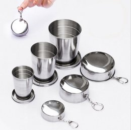 Wholesale Gargle Cup - Outdoor camping trip 304 stainless steel telescopic cup Gargle cup Wine Glass cup 60ml ,150 ml ,250ml
