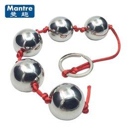 Wholesale adult toys ball ring - Beginner Metal Chain Anal Butt Plug Beads Vaginal Balls With Pull Ring Masturbation Adult Sex Toys For Men And Women