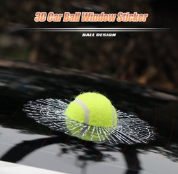 Wholesale Mirror Adhesives - 3D Car Auto Funny Styling Ball Hits Window Sticker Adhesive Tennis PVC Vinyl Decal Design 172241506