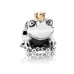 "Wholesale Top Charm Bracelet Brands - Wholesale-European S925 Sterling Silver bead ""Frog Prince"" charm for DIY brand Bracelets top quality women jewelry Gift"