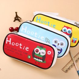 Wholesale Owl Organizer - Wholesale- 1 Pcs Kawaii Owl Large Capacity Pu Leather Pencil Case Stationery Storage Organizer Bag Animal Pencil Box