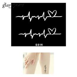 Wholesale Hot Stencil - Wholesale-Hot 1 Piece Small Henna Tattoo Stencil Creative Electrocardiogram Pattern Design Health Body Art Tattoo Stencil Top Quality S516