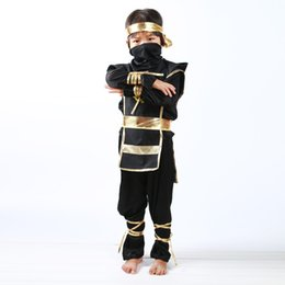 Wholesale Play Boy Clothes - Wholesale- Halloween Black Clothing Suit Ninja Costume For Boys Children Comic Cartoon Christmas Outfit Girls Perform Play Outerwear