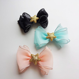 Wholesale Shiny Bow - 12Pcs Lot 4 Inch Organza Shiny Star Silver Side Hair Bow Hairpins Hair Clips Princess Barrette Kids Headwear Beautiful HuiLin B48