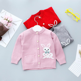 Wholesale Bunny Sweater Girls - Cardigans for children Baby girl Sweaters Cartoon Bunny Bow Jacquard Knit coat 2017 Autumn SpringNew arrival 6months-3years