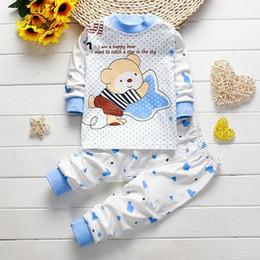 Wholesale Children Boy Sleeping Wear - 2017 Newborn baby Girl boys Sleep wear clothing Set children Pajamas Long johns kids Cotton autumn winter Underwear