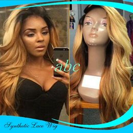 Wholesale Long Hair Tone - Long wigs Blonde Wig Two Toned Curly Blonde Ombre Dark Root Lace Front Wig Synthetic Heat Resistant Hair Wigs Free Shipping