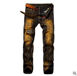 Wholesale Black Denim Print Legging - Men's Slim Tie Dye Jeans European and American Style Jeans Teenager Hot Denim Pants Trouser Straight-Leg Black Jeans