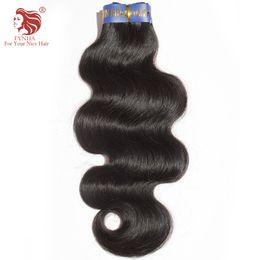Wholesale 32inch Virgin Peruvian Hair - Brazilian hair human hair weft 1pcs lot high quality virgin unprocessed body wave human hair extensions 8-32inch natural color #1b
