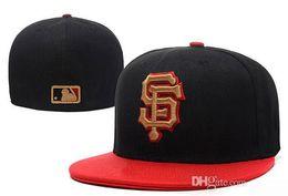 Wholesale Team Logo Baseball Hats - Free shipping MLB San Francisco Giants Baseball Cap Embroidered Team logo Fitted Cap Sport Fit Hats Wholesale