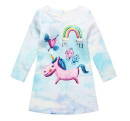 Wholesale Organic Cotton Jersey - 2017 Girls Unicorn Princess Dress Long Sleeve Spring Autumn dress Costume for Kids Clothes Tunic Appliques Girls Jersey Dresses
