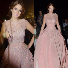 Wholesale Short Sexy Nude Crystal Dress - Elegant Cap Sleeve A Line Pink Evening Dresses Robe De Soiree With Pearls Sheer Lace Neck Floor Length Formal Prom