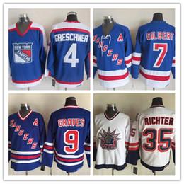 Wholesale Rangers Ccm Jersey - Throwback New York Rangers Hockey CCM 4 Ron Greschner Blue 7 Rod Gilbert White 9 Adam Graves Mens 35 Mike Richter CCM Jersey