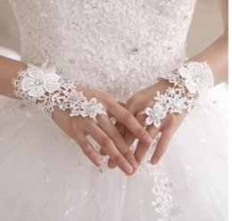 Wholesale Ivory Summer Bridal Gloves - Cheap Fingerless In stock Wedding Accessories For wedding evening Party gloves Short Wrist Length Lace Pearl Beads Bridal Glove