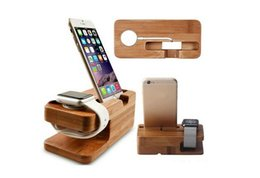 Wholesale Moblie Phone Charge - Natural Bamboo Wood Charger Holder Dock Charging Station Cradle Stand For Moblie Phone iphone Apple Samsung Watch