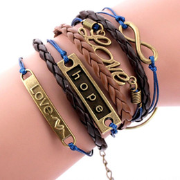 Wholesale Fairy Knitting - Wholesale-JU 9 Fairy Store Women Girl Bone Multilayer Knit Leather Rope Chain Charm Bracelet Gift