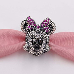 Wholesale Christmas Minnie - Authentic 925 Silver Beads Disny, Sparkling Minnie Portrait Fits European Pandora Style Jewelry Bracelets & Necklace 791796NCK for making