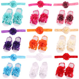 Wholesale Wholesale Baby Barefoot Headband Sets - Baby Sandals Flower Shoes Cover Barefoot Foot Flower Ties Infant Girl Kids First Walker Shoes Headband Set Photography Props 17 Colors A46