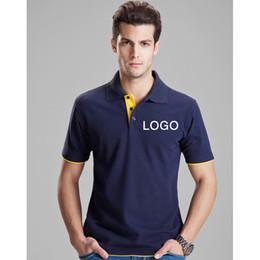 Wholesale Polo Shirt Custom - Men Polo Shirt Custom Short Sleeve cotton Lapel Workwear T - Shirt Custom Embroidery Logo free shipping