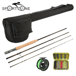 Wholesale Reels Combo - 4 Section Fly Fishing Rod Reel Combo Full Kit Carbon Fiber Fishing Rod 2+1BB Fish Wheel Line Lure Set With Fishing Bag Pesca