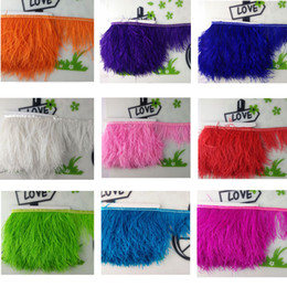 Wholesale Wholesale Ostrich Feather Trim - 1m DIY Muticolor Long Ostrich Feather Decorations Plumes Fringe trim 12-15cm Feather Boa Stripe for Party Clothing Accessories Craft for Wed