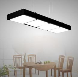colgante acrilico luz para oficina Rebajas Lámpara colgante de acrílico moderna para oficina Lámpara de iluminación LED rectangular simple para restaurante Lámpara de interior de ingeniería práctica