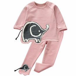 Wholesale Elephant Long Sleeve - 2017 Autumn kids suit clothes girl elephant clothes top+pant set 2 pieces children long sleeve clothes suit
