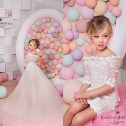 Wholesale Two Part Short Dress - 2017 Elegant Flower Girls Dresses with Detachable Train Two Pieces off the shoulder Child Lace Birthday Part Gowns for kids Wedding