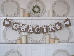 Wholesale Thank Bunting - Wholesale- Free Shipping 1 X New Design Romantic Wedding Bunting Thank You Gracias Spanish Party Garland Banners DIY Handmade