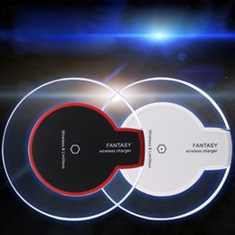 Wholesale Fast Led Tablet - Fast charge Pad Qi wireless phone charger portable fantasy crystal universal LED lighting tablet charging for samsung galaxy s8 S6 S7 edge