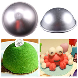 Wholesale Eco Friendly Baking Tins - 2000pcs lot Hot 3D Aluminum Ball Sphere Cake Pan Tin DIY Baking Pastry Ball Mold Tools Mould Kitchen Molds Bath Bomb Bakeware ZA0567