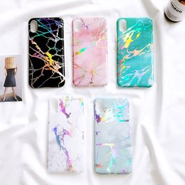 Wholesale Case Images - Black Holo Chrome Marble Stone Image Case for iPhone 7 7plus Cover Fashion Electroplating Phone Coque for iPhoneX 8 8PLUS 7 6s 6plus