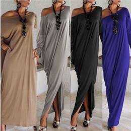 Wholesale Grey Chiffon Mermaid Dress - New Women Lady Elegant Casual Loose Fashion Long Sleeve Boho Pure Color Blue Grey Black O Neck Beach Long Maxi Dress