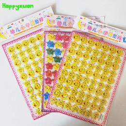Wholesale Wholesale Bubble Pens - Happyxuan 10pcs lot Children's Reward Stickers Five-pointed Star Smile Face Preschool Praise Stereoscopic Bubble Sticker