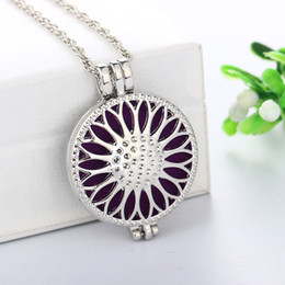 Wholesale Tin Perfume - Vintage style Sunflower Aromatherapy Perfume Essential Oil Diffuser Necklace Locket Pendant 316L Stainless Steel Jewelry free 5 pad NE737