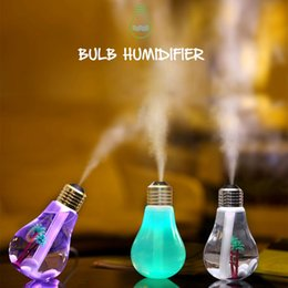 Wholesale Aroma Diffuser Bottle - Free DHL USB Ultrasonic Humidifier Home Office Mini Aroma Diffuser LED Night Light Aromatherapy Mist Maker Creative Bottle Bulb 0703129