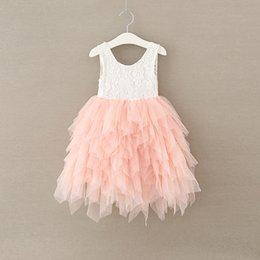 Wholesale Tulle Layered Dress Kids - Everweekend Sweet Kids Girls Tutu Lace Layered Cake Princess Dress Embroidered Western Party Tulle Cute Lovely Dress