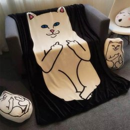 Wholesale Portable Knitting - New Ripndip Nermal Pocket Cat Fleece Blanket Throws on Sofa Bed Plane Travel Super Soft Carpet Plaids Base Cat Blankets Free Shipping