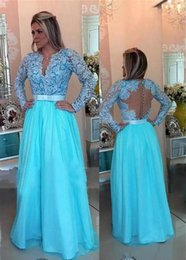 Wholesale Red Carpet Gown Ice - Ice Blue Long Sleeve Evening Dresses Party Elegant Floor Length Tulle Lace Pearls Red Carpet Celebrity Formal Prom Gowns Women Wear 2018