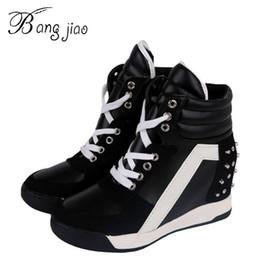 Wholesale Women Elevator Boots - Wholesale-Hot Sales New 2016 Autumn Rivets Black White Hidden Wedge Heels Casual Shoes Women's Elevator High-heels boots For Women 7D03