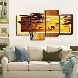 Абстрактная африканская картина холст онлайн-Нет Кадр Африканское Впечатление !! 4шт огромный реальный ручной работы современная абстрактная живопись маслом на холсте стены искусства