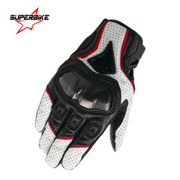 Wholesale Cycling Navigation - Wholesale- Motorcycle Gloves Leather Men Screen Touch Navigation Motocross Sports Glove Cycling Racing Gear Moto Motocicleta Guantes Luvas